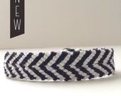Black and white chevron woven bracelet