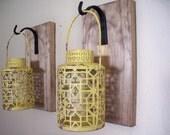 Rustic yellow lantern set, wall decor, bedroom wall decor,  wall sconces, housewarming gift, wrought iron hook, rustic wood boards