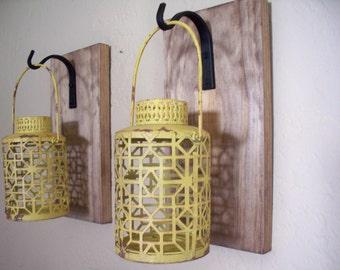 Rustic yellow lantern set (2), wall decor, bedroom wall decor,  wall sconces, housewarming gift, wrought iron hook, rustic wood boards