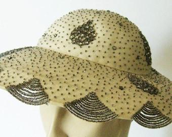 Vintage Off White Fur Felt Gimbel's Women's Beaded & Rhinestones Widebrim Hat