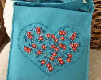 Turquoise Felt Cross Body Bag with Hand Embroidered and Beaded Flowers