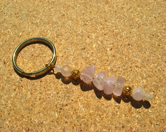 Key Ring Rose Quartz Gemstones with Gold Plated Filigree Beads