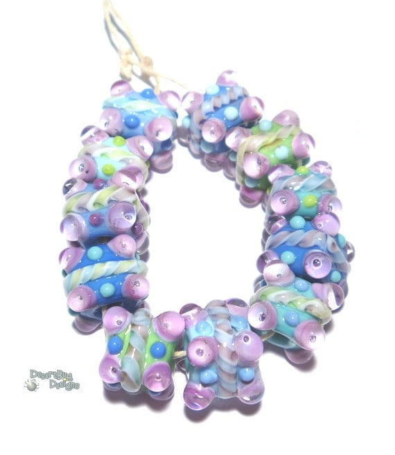 Unique Beaded Periwinkle Seashell Coloring Page: COOL CUBES Lampwork Beads Handmade Cool Color Mix