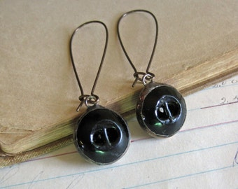 Black Glass Button Earrings Recycled Jewelry Long Arched Earwires