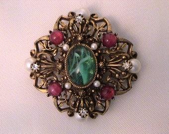 Vintage SA Samsan Emerald Ruby Cabochon Large Pendant Brooch