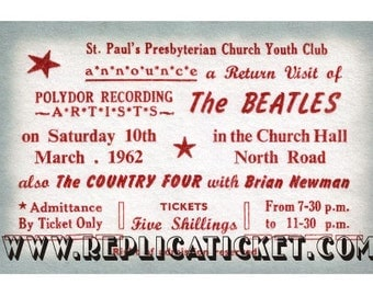 5   1962-1963  BEATLES  tickets scrapbooking paper replicas made in the USA