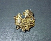 TINY 1901 Antique Edwardian Awards Pin - 10K Gold - School - Achievement - Medal - Flaming Torch - Laurel Leaves - Victorian