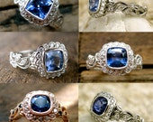 Order Your Blue Sapphire Vine Engagement Ring with Diamonds Here - Deposit Only