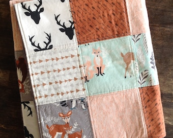 Baby Quilt Baby Quilts Handmade Baby Boy Quilt Modern Baby Quilt Woodland Baby Quilt Baby Quilts for Sale Baby Quilts for Boys Baby Gift