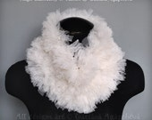 Feathery Tulle Textures Cowl, Free Shipping, WHITE ANGEL, Luxury Scarf, Neckwarmer, Collar, Soft Mesh Gauze Voile Fabric, 2015