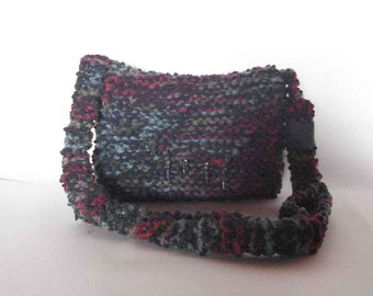 Knitted bag shoulder bag cross body bag tweed messenger lined interior zip beaded flap