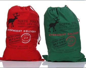 Santa sack, Christmas bag,gift bag, red Santa sack embroidered with child's name