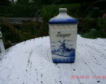 Vintage Blue Windmill Sugar Canister w/ Lid Camilla Cottage Charm~Prairie Style Home
