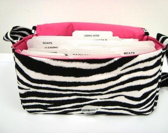 Medium Size Coupon Organizer Holder - Attaches to your shopping cart - Zebra