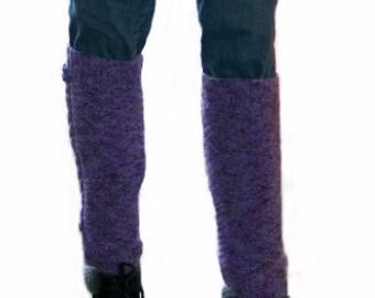 Hand knitted purple leg warmers