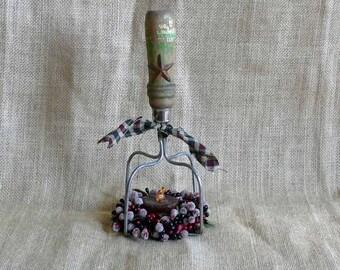 Repurposed Wood Handle Vintage Potato Masher Tea Light Candle Holder