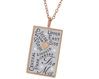 New York City Landmarks Charm Hand Stamped Sterling Silver 14k Gold Rimmed Rectangle Necklace Personalized Travel Jewelry Custom Engraved