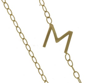 Custom Solid Gold Initial Split Chain Necklace 14K Offset Letter Initial Number Jewelry Personalized Artisan Handmade Fine Designer Fashion