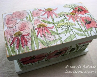 Farmhouse Hand Painted Keepsake Box with Pink Garden Flowers