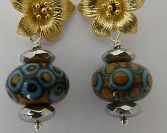 Lampwork bead and flower earrings