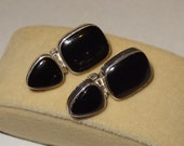 Vintage Sterling Silver and Black Onyx Clip on Earrings