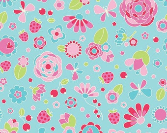 Riley Blake Fabric Flutterberry Main in Blue