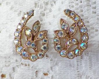 Very Sparkly Vintage AB / Aurora Borealis Rhinestone Screw Back Earrings, Rhinestones, Flower / Floral / Loop, Bride / Bridal