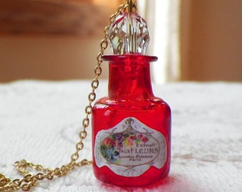 Tiny Red Glass Perfume Bottle with Vintage Paper Perfume Label Copy Pendant / Necklace, Crystal Stopper, Flowers / Floral