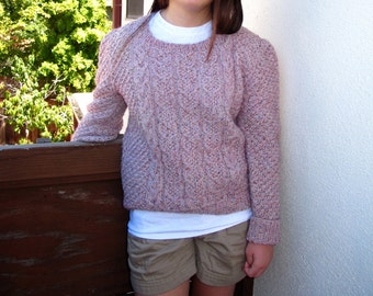 80s Vintage Boxy Cropped Mauve Confetti Scoop Neck Sweater Womans Med Lg / Somebody's Grandma Made It