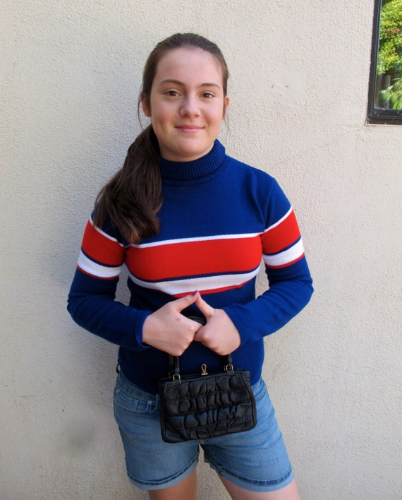 80s Stripe Pullover Chesley Color Block Sweater Acrylic S small 34 Bust / Red White Blue Vintage Turtleneck Sweater