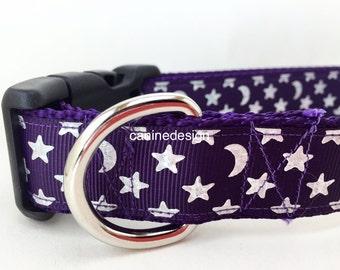 Dog Collar, Plum Stars, 1 inch wide, adjustable, quick release, metal buckle, chain, martingale, hybrid, nylon, american, patriotic