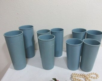 Tupperware Tumblers Set of 9 Vintage Blue Drinking Glasses