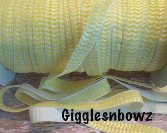 "SaLe SaLE- 5/8"" PRINT Fold Over Elastic - Yellow Chevron- Printed Elastic- Chevron Elastic- DIY Hair Accessories Supplies"