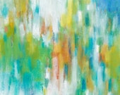 Original Colorful Abstract Painting, Modern Fine Art, Contemporary Home Decor, 12x12 Canvas Wall Art green turquoise blue orange coral white