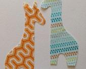 2 Small Diy Fabric Iron On Appliqué Giraffes