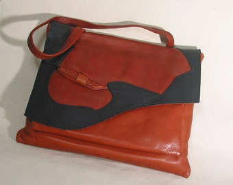 SALE - Leather Bag - Raw Sienna and Black  was 150.00-now 75.00