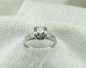 Circa 1950's .85 Carat Early Modern Round Brilliant Cut Diamond. Traditional Engagement Ring