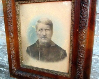 """Antique Carved Wood Four Layer Frame Picture Portrait Of a Soldier 27x31 Out 21x16"""" in"""