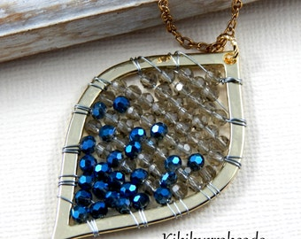 Gold Leaf Necklace - Hand Beaded Gold Pendant Necklace