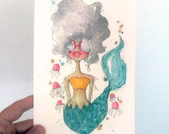 sweet soul the merm - an original watercolor illustration