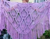 Wrap Shawl Cover Up Fringe Gypsy Shawl Lavender Crochet Purple Boho Pineapple Cozy