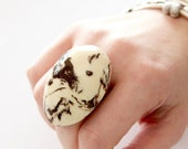 Ceramic Marble Ring - big ring, fashion ring, oversized ring, statement ring, handmade cocktail ring, Studioleanne - 1.9 inch