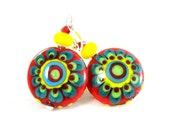Colorful Funky Earrings, Large Flower Earrings, Red Yellow Teal Statement Earrings, Hippie Earrings, Retro Earrings, Lampwork Glass Earrings