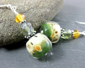 Green White Yellow Glass Dangle Earrings, Earthy Earrings, Boro Lampwork Earrings, Drop Earrings, Boho Earrings Colorful Jewelry Pina Colada