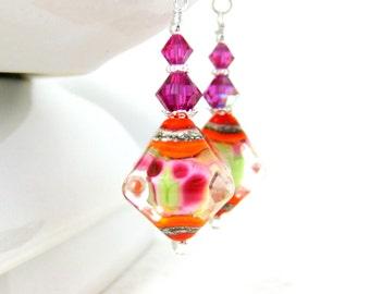 Pink Orange Green Dangle Earrings, Colorful Glass Earrings, Diamond Earrings, Lampwork Earrings, Beaded Earrings, Bright Colorful Earrings