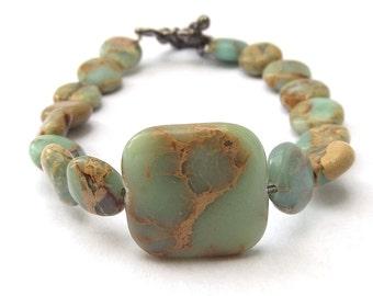 Blue Green, Aqua Terra Jasper Beaded Gemstone Bracelet for a Medium Sized Wrist
