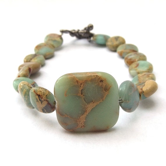 Blue Green Aqua Terra Jasper Beaded Gemstone Bracelet