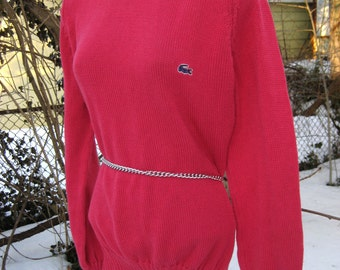 gift it IZOD COTTON POINSETTIA pink Stretch knit sweater, like new without tag, nwot