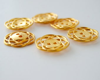 Gold Colored Metal Buttons - 7/8 inch x 8