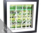 evergreen forest shadowbox- made from recycled magazines, trees, green, nature, forest, upcycled, frame